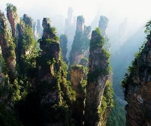 Zhangjiajie national forest park's mountains belong to what landform?