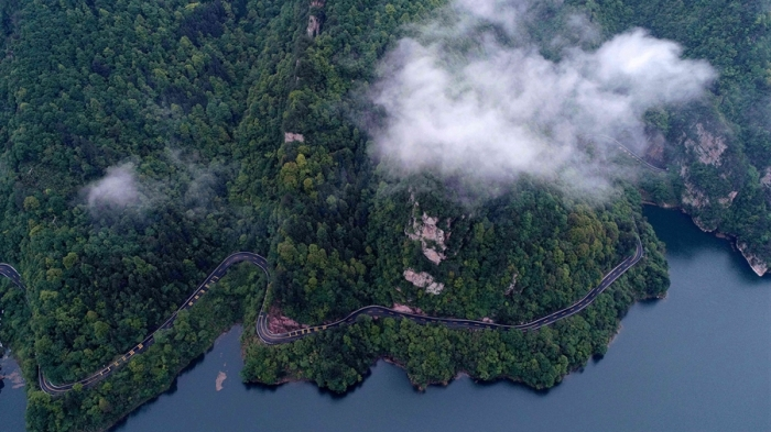 Aerial View of Sightseeing Road in Zhangjiajie